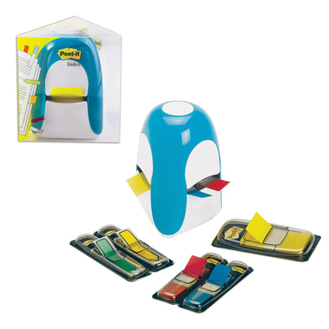 Диспенсер для закладок самоклеящ. POST-IT Professional, голубой + закладки 1 шт. — 25 мм, 4 шт. — 12,7 мм