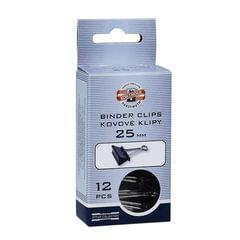 Зажимы для бумаг KOH-I-NOOR, комплект 12 шт., 25 мм, на 100 листов, черные, картонная коробка, подвес