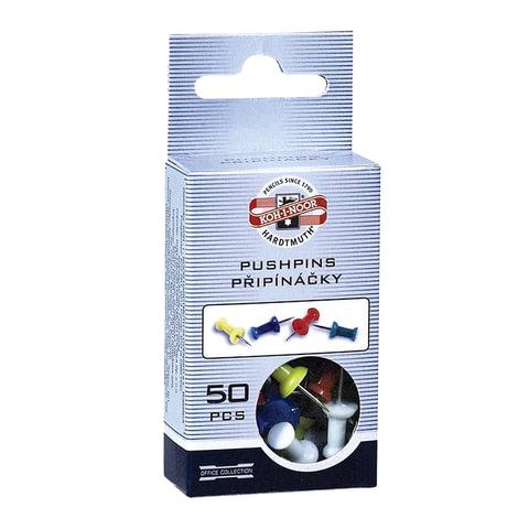 Силовые кнопки-гвоздики KOH-I-NOOR, цветные, 50 шт., 11 мм, в картонной коробке с подвесом