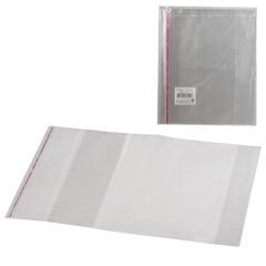 Обложки ПП для учебника, комплект 5 шт., универсальные, прозрачные, клейкий край, 80 мкм, 232×400 мм
