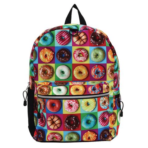 """Рюкзак MOJO """"Donut"""", универсальный, молодежный, 20 л, разноцветный, """"Пончики"""", 43х30х16 см"""