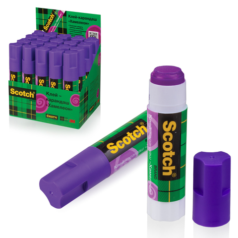 Клей-карандаш SCOTCH, обесцвечивающийся, фиолетовый, 15 г