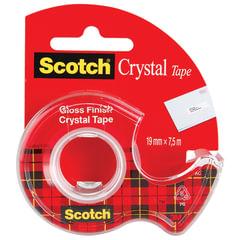 Клейкая лента канцелярская 19 мм х 7,5 м SCOTCH «Crystal», прозрачная, на диспенсере, 50 мкм
