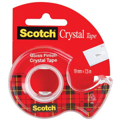"""Клейкая лента канцелярская 19 мм х 7,5 м SCOTCH """"Crystal"""", прозрачная, на диспенсере, 50 мкм"""