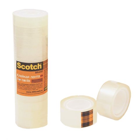 Клейкие ленты 12 мм х 10 м канцелярские SCOTCH 500, комплект 12 шт., 45 мкм