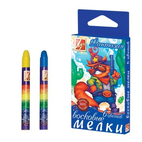 """Восковые мелки ЛУЧ """"Фантазия"""", 6 цветов, на масляной основе, картонная упаковка с европодвесом"""