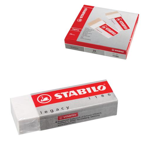 Резинка стирательная STABILO, прямоугольная, 62×22×11 мм, белая, в картонном держателе