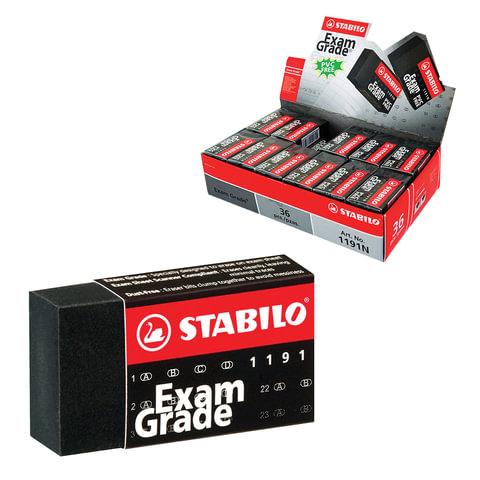 """Резинка стирательная STABILO """"Exam Grade"""", прямоугольная, 40х22х11 мм, черная, в картонном держателе"""