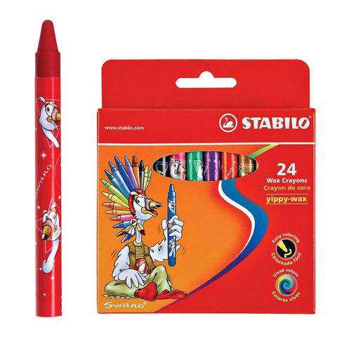 Восковые мелки STABILO «Yippy», 24 цвета, яркие цвета, картонная упаковка c европодвесом