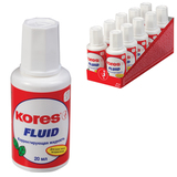 Корректирующая жидкость KORES «Fluid», 20 мл, с кисточкой, быстросохнущая основа, металлический шарик, картонный дисплей