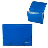 Папка на резинках BRAUBERG (БРАУБЕРГ), А4, 7 отделений, пластиковые индексы, синяя, Россия