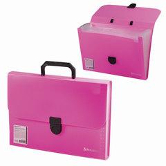Портфель пластиковый BRAUBERG «Проект А4», 330×240×35 мм, 13 отделений, фактура стандарт, розовый, Россия
