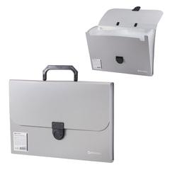 Портфель пластиковый BRAUBERG «Делегат А4», 330×240×35 мм, 13 отделений, фактура диагональ, серебро, Россия