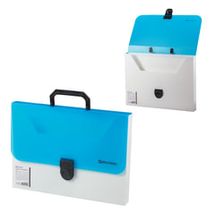 Портфель пластиковый BRAUBERG «Гранд А4», 330×240×30 мм, без отделений, белый/<wbr/>тонированный синий, Россия