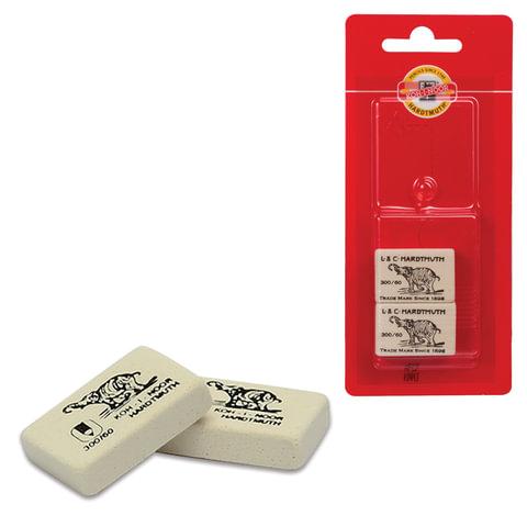 """Резинки стирательные KOH-I-NOOR """"Слон"""", набор 2 шт., прямоугольные, 31х21х8 мм, белые, блистер"""