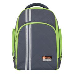 Рюкзак TIGER FAMILY (ТАЙГЕР), 19 л, с ортопедической спинкой, для средней школы, универсальный, серый/<wbr/>зеленый, 39×31×22 см