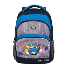 Рюкзак TIGER FAMILY (ТАЙГЕР), 22 л, с ортопедической спинкой для учеников средней школы, серый/<wbr/>синий, 41×33×22 см