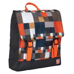 Рюкзак TIGER FAMILY (ТАЙГЕР), 4 л, для начальной школы, универсальный, черный/<wbr/>оранжевый, «Мини Ретро», 29×25×7 см