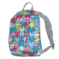 Рюкзак TIGER FAMILY (ТАЙГЕР), 6 л, для учениц начальной школы, бирюзовый/<wbr/>розовый, «Пазлы», 27×22×11 см