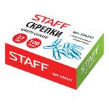 Скрепки STAFF, 27 мм, синие, 100 шт., в картонной коробке
