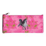 Пенал-косметичка BRAUBERG (БРАУБЕРГ) для учениц начальной школы, розовый/<wbr/>серый, «Лошади», 20×10 см