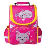 Ранец жесткокаркасный ПИФАГОР, для учениц начальной школы, «Кошка», 15 литров, 36×28×15 см