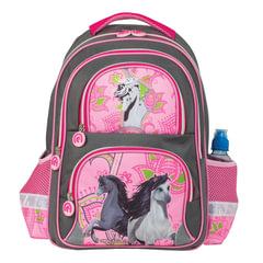 Рюкзак BRAUBERG, с EVA спинкой, для учениц начальной школы, «Лошади», 12 литров, 38×30×14 см