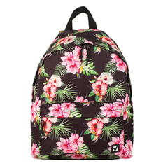 Рюкзак BRAUBERG универсальный, сити-формат, черный, «Цветы», 20 литров, 41×32×14 см