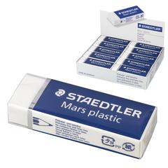 Резинка стирательная STAEDTLER (Штедлер, Германия), Премиум «MARS PLASTIC», 65×23×13 мм, картонный держатель, белая