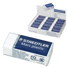 Резинка стирательная STAEDTLER (Штедлер, Германия), Премиум «MARS PLASTIC», 40×19×13 мм, картонный держатель, белая