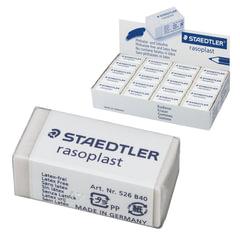 Резинка стирательная STAEDTLER (Штедлер, Германия) «RASOPLAST», 33×16×13 мм, с держателем, белая