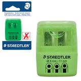 Точилка STAEDTLER (Германия), 2 отверстия, контейнер и крышечка, пластиковая, зеленая