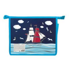 Папка для тетрадей А5, пластиковая, с цветной печатью, молния сверху, для мальчиков, «Корабль» BRAUBERG