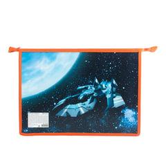Папка для тетрадей А4, пластиковая, с цветной печатью, молния сверху, для мальчиков, «Космолет» BRAUBERG