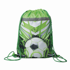 Сумка для обуви BRAUBERG для учеников начальной школы, плотная, «Футбол», зеленая, 45×35 см
