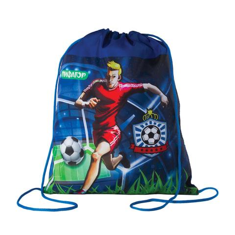 """Сумка для обуви ПИФАГОР для учеников начальной школы, """"Футбол"""", сине-зеленая, 42х34 см"""