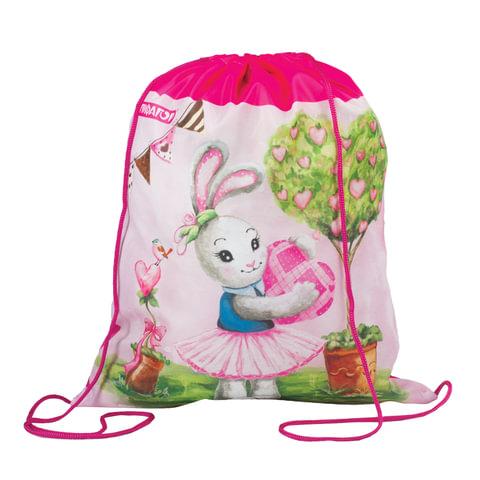 """Сумка для обуви ПИФАГОР для учениц начальной школы, """"Зайка"""", розовая, 42х34 см"""