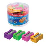 Точилка ERICH KRAUSE «Unity Neon», пластиковая, прямоугольная, цвет неоновый ассорти