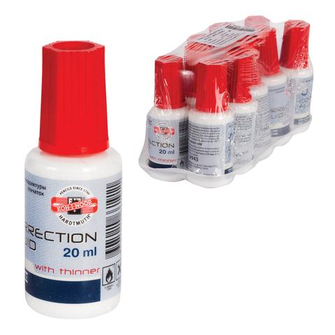 Корректирующая жидкость KOH-I-NOOR, 20 мл, флакон с кисточкой, на спиртовой основе