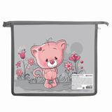 Папка для тетрадей BRAUBERG (БРАУБЕРГ), А4, ламинированный картон, молния сверху, цветная. печать, девочка, «Кошка»