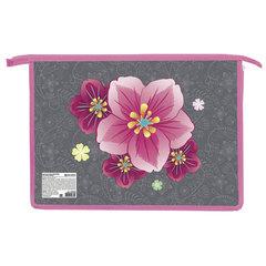 Папка для труда BRAUBERG, А4, пластик, молния сверху, цветная печать, девочка, «Цветы»