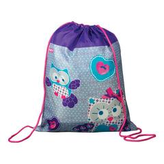 Сумка для обуви ПИФАГОР для начальной школы, девочка, Сова, фиолетовая, 42*34 см, 226631