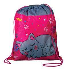 Сумка для обуви ПИФАГОР для начальной школы, девочка, Кошка, серая, 42*34 см, 226633