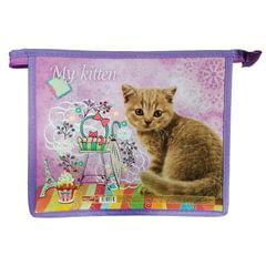 Папка для тетрадей, А5, ламинат с цветной печатью, молния сверху, для девочек, «Мой котик»
