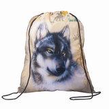 Сумка для обуви для учеников начальной школы, «Дикий волк», бежевая, 33×42 см