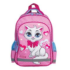 Рюкзак ПИФАГОР для учениц начальной школы, «Белая кошка», 38×28×14 см