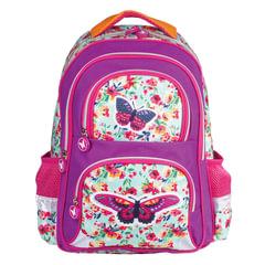 Рюкзак BRAUBERG с EVA спинкой, для учениц начальной школы, «Бабочка в цветах», 38×30×14 см