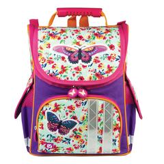 Ранец жесткокаркасный BRAUBERG для учениц начальной школы, «Бабочка в цветах», 34×26×16 см