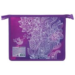 Папка для тетрадей BRAUBERG, А5, пластик, цветная печать, молния сверху, для девочек, «Маджента»