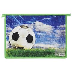 Папка для тетрадей BRAUBERG, А4, пластик, цветная печать, молния сверху, для мальчиков, «Футбольный мяч»